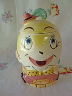 Enesco Humpty Dumpty Cookie Jar -  New Old Stock and Never Used - 1950s. $36.00, via Etsy.