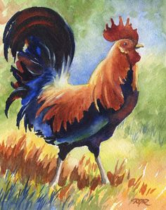 Hey, I found this really awesome Etsy listing at https://www.etsy.com/listing/120426591/rooster-chicken-art-print-signed-by