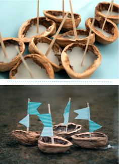 My Dad and I used to make these walnut shell sail boats and use wooden match sticks for masts.