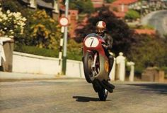 Giacamo Agostini on 'his' MV Augusta at the IOM TT. You hear complaints that racing isn't as close as it used to be but during Ago's dominant GP years he frequently lapped everyone up to second place!
