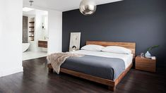 What Absolutely Everyone Is Saying About Dark Grey Accent Wall Bedroom Room Colors - walmartbytes Accent Wall Bedroom, Wood Bedroom, Home Decor Bedroom, Master Bedroom, Bedroom Ideas, Bedroom Bed, Contemporary Bedroom, Modern Bedroom, Modern Contemporary