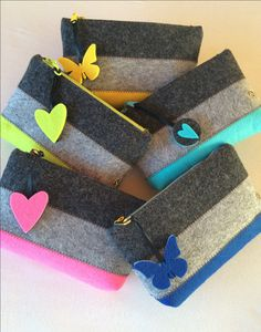 makeup bag pencil case cell phone bag felt pouch zipper wallet storage pouch felt make up bag christmas gift girl gift by shansbag on etsy - Life ideas Diy Felt Pouches, Felt Wallet, Diy Wallet, Felt Purse, Pocket Wallet, Felt Diy, Handmade Felt, Felt Crafts, Christmas Gifts For Girls