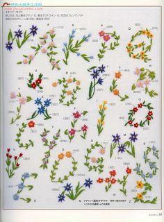 Flower alphabet embroideries