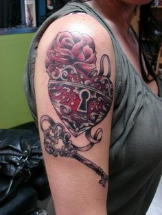 Half-sleeve Lock and Key watercolor tattoo - heart, flower