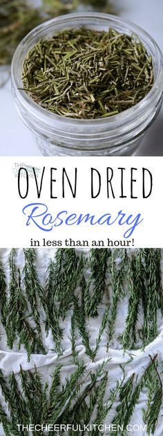 This Oven Dried Rosemary tutorial shows you how to go from fresh to dried rosemary using your oven! It spends less than an hour in the oven, and you have a stockpile of dried rosemary to keep for yourself or to share with friends. Rosemary Recipes, Rosemary Plant, How To Dry Rosemary, Herb Recipes, Canning Recipes, How To Dry Basil, Real Food Recipes, Uses For Rosemary, Gardens