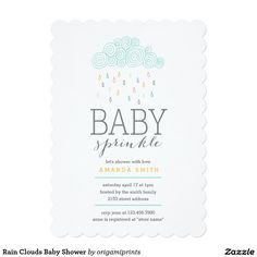 Rain Clouds Baby Shower 5x7 Paper Invitation Card