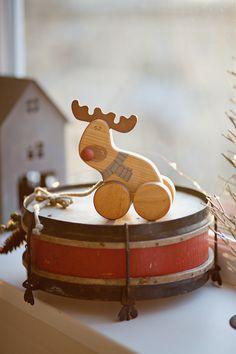 Christmas toy, handmade wooden reindeer