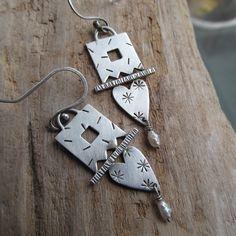 SALE Heart Earrings Sterling Funky stamped Silver LOVE Valentine Drop Dangle Pearl Earrings