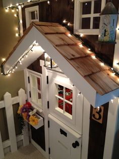 Indoor Playhouse Design, Pictures, Remodel, Decor and Ideas-Decorate Summer's playhouse with Christmas lights during the holidays! Adorable!