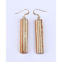 """1 3/4"""" white and tan earrings"""