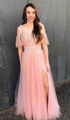 Split Side Pink Beaded Prom Dresses 3273e081b9da