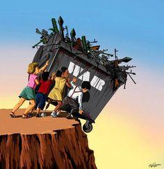O cartunista Gunduz Agayev, do Azerbaijão, resolveu usar o seu talento para retratar sua indignação a cerca da relação do ser humano e as guerras do mundo.