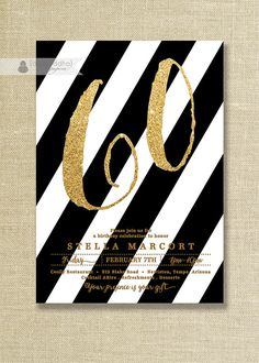 Black & Gold Birthday Party Invitation Stripes Glitter Black and White Any Age 30 40 50 FREE PRIORIT