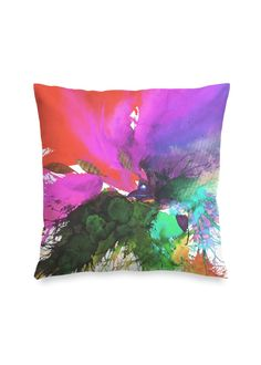 Blossoming 174-c - Square Pillow by Eliora BOUSQUET Red Pillows, Accent Pillows, Black Garden, Black Mountain, Decoration, Pillow Covers, Creations, Tapestry, Watercolor