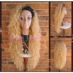On Long Beach Curly Half Wig Kinky Curly Wig Long Ombre Platinum... ($75) ❤ liked on Polyvore featuring beauty products, haircare, hair styling tools, bath & beauty, grey, hair care, wigs, curly hair care, straight iron and styling iron