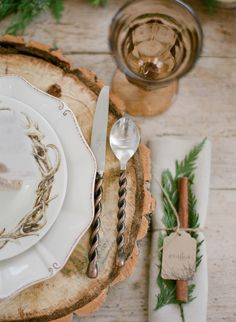 Rustic Place Setting | photography by http://jacquelynnphoto.com/ #winterweddings #woodlandweddings #winterwoodlandweddings