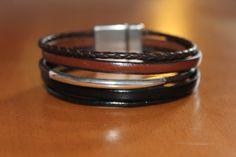 bracelet en cuir noir et marron pour homme. fermoir aimanté : Bijoux pour hommes par isabond007