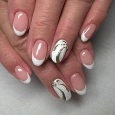 110+ This is a simple and cute design on the ring finger for white French tips 2018