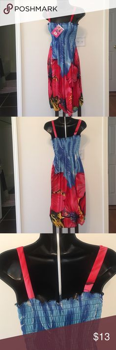 (M) blue and red multi color fashion sundress. Brand new blue and red multi color fashion mini sundress. Shi yinlai fashion miniskirt Dresses Mini