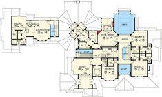 Craftsman Masterpiece with Studio - 23290JD | Architectural Designs - House Plans Luxury Floor Plans, Luxury House Plans, New House Plans, Dream House Plans, House Floor Plans, Dream Houses, Vaulted Living Rooms, Mountain House Plans, Secret Rooms