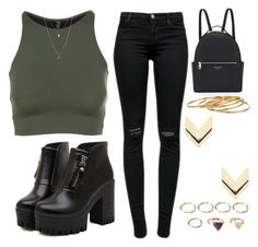 """""""Black & Green"""" by bizzle-75sos ❤ liked on Polyvore featuring Onzie, J Brand, Dr. Martens, ASOS, Henri Bendel, Satya, Forever 21 and Leslie Danzis"""