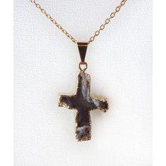 Pingente cruz de pedra ágata folheado dourado