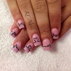 Valentines Day Nails. Solid pink acrylic nails with pink mylar. Hand painted black heartbeat nail art.  KCNails