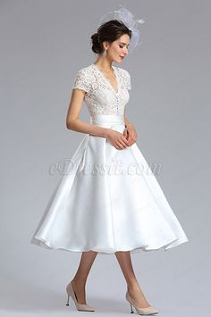 May 15 2020 - eDressit white Cap Sleeves Wedding Cocktail Dress White Tea Length Dress, Simple White Dress, Tea Length Wedding Dress, Tea Length Dresses, Dress Wedding, Retro Wedding Dresses, Civil Wedding Dresses, Wedding Gowns With Sleeves, Bridal Dresses