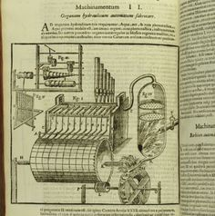 A diagram of one of Kircher's inventions: a hydraulic organ, from his Musurgia Universalis