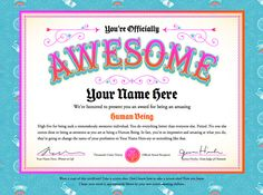 Create certificates of awesomeness for students......A Friday high five | How About Orange