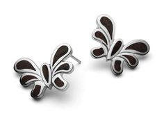 """SILVER """"""""BUTTERFLY"""""""" CLIP EARRINGS WITH WOOODEN INLAYS"""