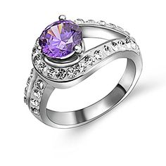 Stainless Steel Vintage Romantic Amethyst Ring Size 9
