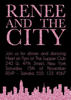 Sex and the City Hens Night Bridal Shower Bachelorette Party Invitation
