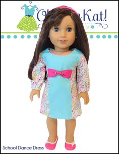 Great options for Embroidery and heat transfer! Oh Sew Kat School Dance Dress Doll Clothes Pattern 18 inch American Girl Dolls Doll Clothes Patterns, Pdf Sewing Patterns, Clothing Patterns, School Dance Dresses, School Dances, Disney Animator Doll, Doll Wardrobe, Sewing For Beginners, 18 Inch Doll