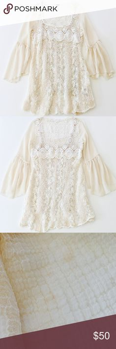 "Free People Aurora Crochet Dress Style: Lace crochet bodice, knit sweater skirt, sheer bell sleeves, lined with attached slip. Measurements: ≈33"" length; ≈22-24"" sleeve length; ≈15"" shoulder to shoulder. Color: Antique. Fabric: 34% Cotton, 30% Wool, 27% Acrylic, 5% Rayon, 4% Other Fibers body; 100% Cotton lace; 100% Polyester sleeve; 100% Rayon lining. Condition: Pre-owned with slight wear, a few loose threads, and a couple faint marks on the sleeve; otherwise good condition. Care: Hand wash…"