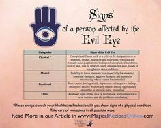 signs and omens of a person affected by the evil eye - read Magick Spells, Witchcraft, Ojo Tattoo, Eye Meaning, Hamsa Meaning, Protection Spells, Evil Spirits, Book Of Shadows, Way Of Life