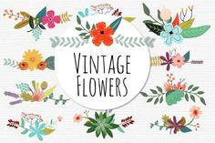 Vintage Flowers Vector Set. $9.00, via Etsy.