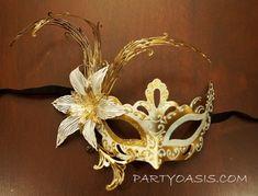 White Flower Masquerade Mask PartyOasis.com
