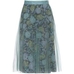 Burberry Pleated Tulle and Silk Skirt (101.375 RUB) ❤ liked on Polyvore featuring skirts, multicoloured, multi color skirt, colorful skirts, tulle skirt, blue silk skirt and knee length pleated skirt