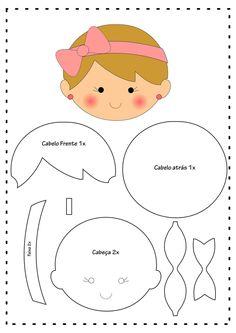 Doll keychain with mold - Diy Felt Felt Doll Patterns, Quiet Book Patterns, Applique Patterns, Craft Patterns, Fabric Dolls, Paper Dolls, Felt Templates, Felt Baby, Felt Toys