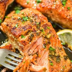 Cajun Salmon - This pan-seared, Cajun-seasoned salmon (using wild-caught salmon) covered w/garlic-butter sauce is simple, elegant, & delicious. It is an ultra-easy & flavorful dinner to make during your busy weeknights, ready in less than 30 minutes! Salmon Recipe Videos, Salmon Recipes, Fish Recipes, Seafood Recipes, Pasta Recipes, Chicken Recipes, Dinner Recipes, Cooking Recipes, Healthy Recipes