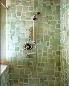 Mosaic sea glass tile bathroom shower in pretty shades of pale green. Love the random sizes and larger grout lines. From Bedrock Industries Blazestone recycled glass tile in Mineral. Escalier Design, Deco Nature, Spring Shower, Tadelakt, Grout Cleaner, Green Cleaning, Spring Cleaning, Recycled Glass, Recycled Materials