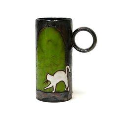 Mug Cat Ceramic Mug Pottery Mug Clay Mug Coffee by MMceramicdesign