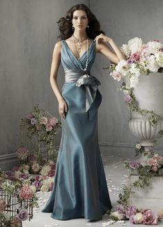 Straps Ruffle Tie Waist Bowknot Satin Floor Length Bridesmaid Dress