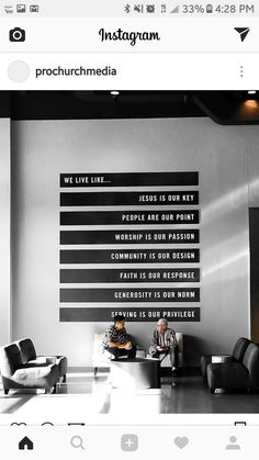 Rebel Vision or We Love Quote in VIP Lounge with greenery wall columns Church Interior Design, Church Graphic Design, Church Stage Design, Church Lobby, Church Foyer, Church Events, Info Board, Youth Group Rooms, Kids Church