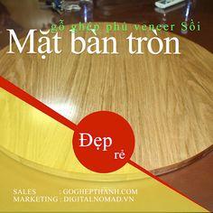 Mặt bàn tròn gỗ ghép phủ veneer Sồi Blockchain, Birch, Teak, Marketing