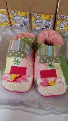 Hand sewn patchwork front baby shoes. Love the log cabin style.  Check out this item in my Etsy shop https://www.etsy.com/uk/listing/259402108/hand-sewn-log-cabin-baby-booties-hot