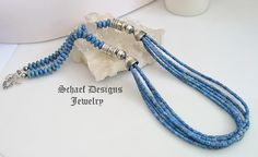 Schaef Designs denim lapis and sterling silver tube bead multi strand long necklace | New Mexico