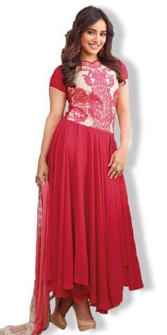 Rose Pink Georgette Anarkali Suit.