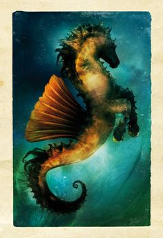 Hippocampe by Aurelien Police or I say Sea Horse Magical Creatures, Fantasy Creatures, Mythical Sea Creatures, Art Steampunk, Mermaids And Mermen, Merfolk, Mythological Creatures, Faeries, Fantasy Art